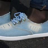 Женские мокасины кеды джинсовые джинс светло синие