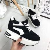 Сникерсы-кроссовки на платформе черно-белые №100-0