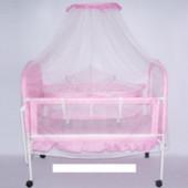 Кроватка детская металлическая-люлька с колесиками 9352-002