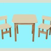 Стол деревянный и 2 стульчика 1400024
