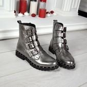 Кожаные ботинки Ремешки, кожаные серебристые ботинки, натуральная кожа
