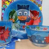 Набор детской посуды из стекла Герои в масках