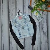 Куртка джинс косуха Denim Co с кожаными рукавами р-р 8 36 S