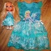"""Сказочное платье """"Холодное сердце с Эльзой."""" Дисней на 4-6 лет."""