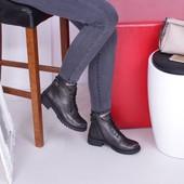 Кожаные женские ботинки цвета никель
