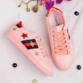 Стильные женские розовые кеды
