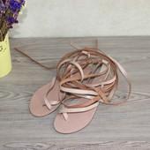 36 24см Asos Кожаные сандалии на завязках вьетнамки римские