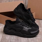 Легкие удобные мужские черные кроссовки