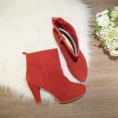 (40р./26см) H&M! Замша! Женственные ботильоны, полусапожки на удобном каблуке