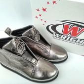 Демисезонные ботинки натуральная кожа серебро 40р 26,5 см