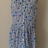 Натуральное легкое платье с принтом цветы