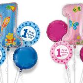 Надувные шары шарики цифры фольгированные набор для праздника день рождения первой годовщины