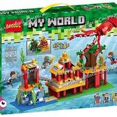 """Конструктор My World 823, аналог Lego Minecraft """"Подводный мир 2в1"""", 432 детали, стив алекс зимогор"""