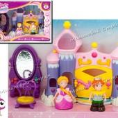 Замок принцессы Рапунцель, фигурки принц и принцесса, трюмо зеркало, трон, кукольный дом
