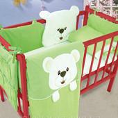 Набор детский защита на кроватку комплект постельного белья салатовый с белым
