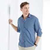 хлопковая рубашка в клетку тсм tchibo.германия.ворот 43-44 размер XL 54-56