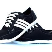 Мужские легкие кроссовки черные с белыми полосами (БЛ-01чб)