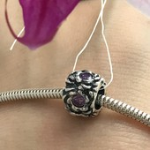 Пандора серебряная Шарм Намистина фиолет 3464