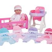 Пупс JC Toys в наборі з одежею, ліжечком та стільчиком для годування