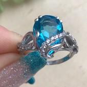 Кольцо серебряное Кварц голубой 1742