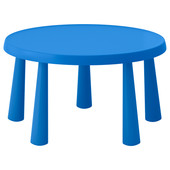 Детский стол круглый, для дома/улицы, синий Mammut Маммут  903.651.80 Икеа Ikea