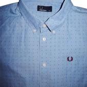 Мужская рубашка голубая в узорчик в горошек Fred Perry XL
