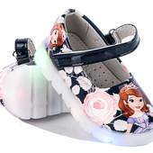 Красивые туфельки Принцесса София 21-26 р с LED подсветкой (мигалками)