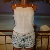 Шорты джинсовые короткие с вышивкой р.8-10 Parisian Collection