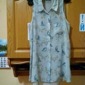 Удлиненная блузка -рубашка с птичками, разпер S,M