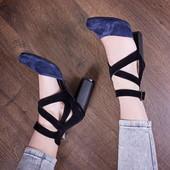 Туфли замшевые двухцветные на каблуке,35-41 р., L128242,33