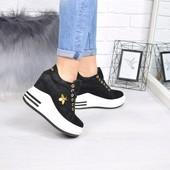 Кроссовки сникерсы на платформе черные