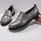 Туфли с замком на низком ходу, р. 36-40, натур. кожа, код kivk-512