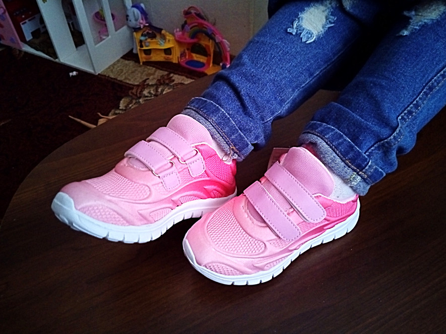 Кроссовки для девочки градиент розовые размер 21,23,24,25,27,28 фото №1