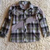 Рубашка с трикотажными вставками с длинным рукавом на 8-9 лет