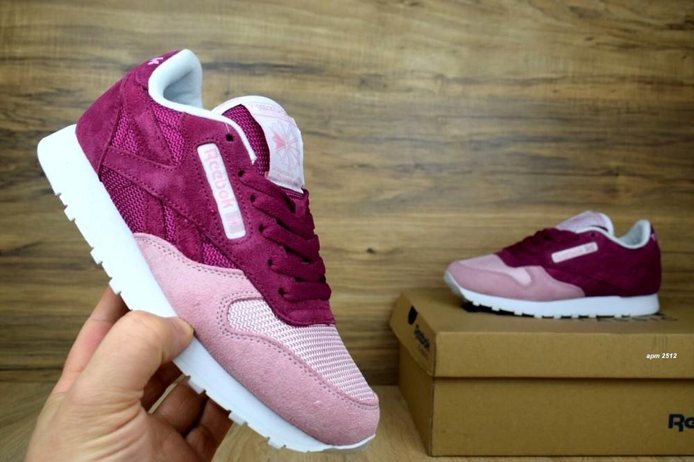 Кроссовки женские reebok classics burgundy/pink фото №1