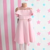 Детское розовое платье открытые плечи размер 5-6-7-8 лет
