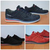 Мужские кроссовки, натуральная замша, черный, синий, красный, 40-45 р., 24