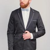 Пиджак мужской с контрастными вставками Черный