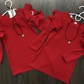 Платье Подвеска красный с воланами открытые плечи