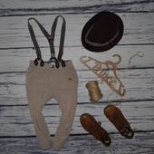 1 - 2 года Фирменные мего крутые вельветовые штаны брюки мальчику с подтяжками на подкладке