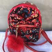 Красный  рюкзак с паетками для девчонок.
