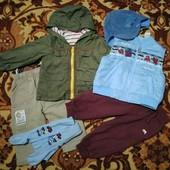 Ветровка, жилетка на флисе, штаны с начесом, кепка, колготки 74-80