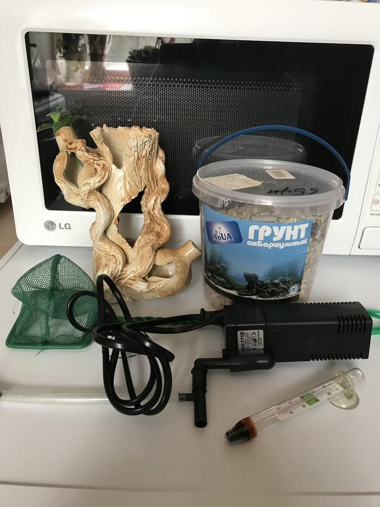 Грунт, коряга, подсака, термометр для аквариума фото №1