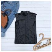 Шикарный топ-блуза из кожзама,р-р ХС-С