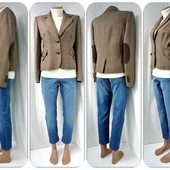 Стильный твидовый жакет, пиджак E-vie с латками на локтях.Размер uk12(M).