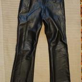 Толстенные мягкие кожаные джинсы черного цвета Турция. 32/34 р.