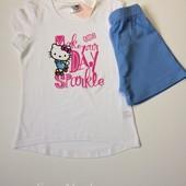 Детский комплект шорты с футболкой Hello Kitty на девочку 6-8 лет рост 122-128