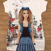 Нарядная футболка для девочки.Турция.