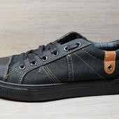 Мужские кеды мокасины - черный джинс (VМ-919)