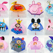 Детский зонт зонтик трость с 3Д эффектом ушками для мальчика и девочки